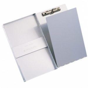 Aluminium klembord staand met deksel en zij-opening Klembordkoffer aluminium A4 opbergvak met afdekplaat Papierklem