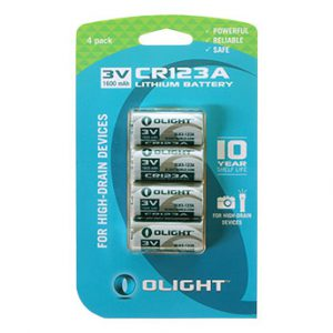 Olight CR123A Lithium battery 3V 1600mAh 4stuks